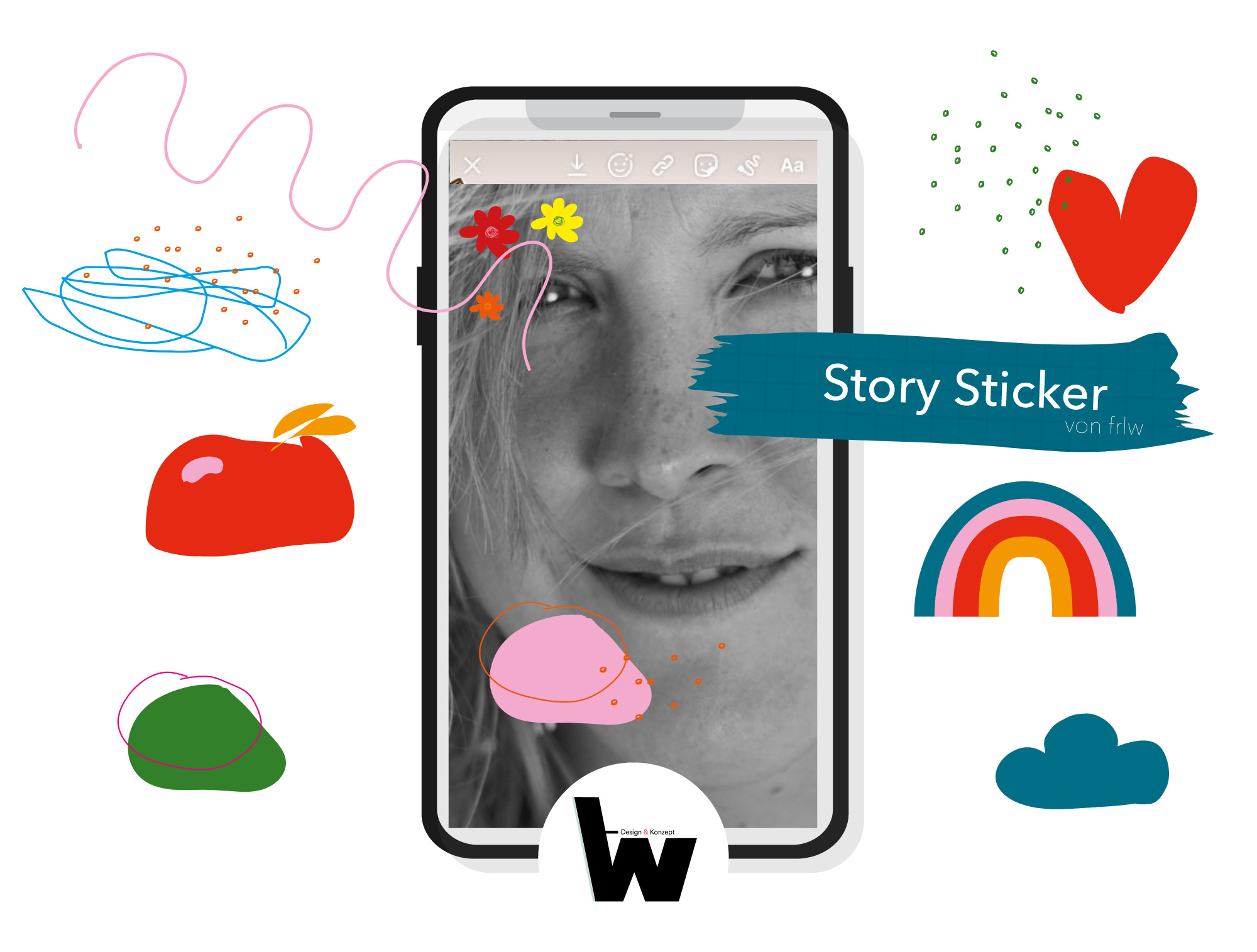 Story-Sticker Form & Farbe